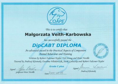 Bagira szkolenie psów behawiorysta - Certyfikat